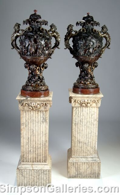 413: A PAIR OF VICTORIAN PATINATED BRONZE AND GRIOTTE M