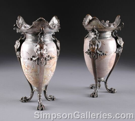 14: A PAIR OF BELLE ÉPOQUE SILVERED BRONZE MOUNTED SARR