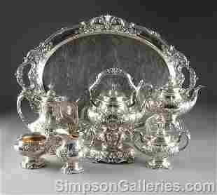 335: A SEVEN PIECE STERLING SILVER TEA AND COFFEE SERVI