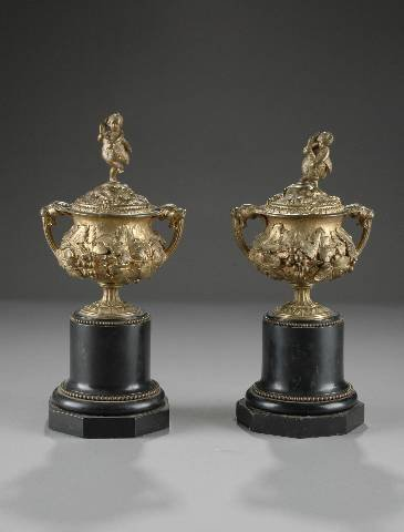8: A PAIR OF ANTIQUE DORÉ BRONZE AND MARBLE CASSOLETTES