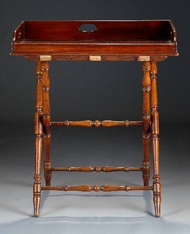 13: A VICTORIAN MAHOGANY BUTLER'S TRAY AND STAND, 19th