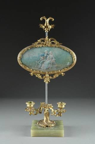 14: A LOUIS XV STYLE GILT BRONZE AND VERRE EGLOMISÈ TWO