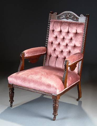 15: A VICTORIAN CARVED WALNUT ARMCHAIR,  circa 1890, th