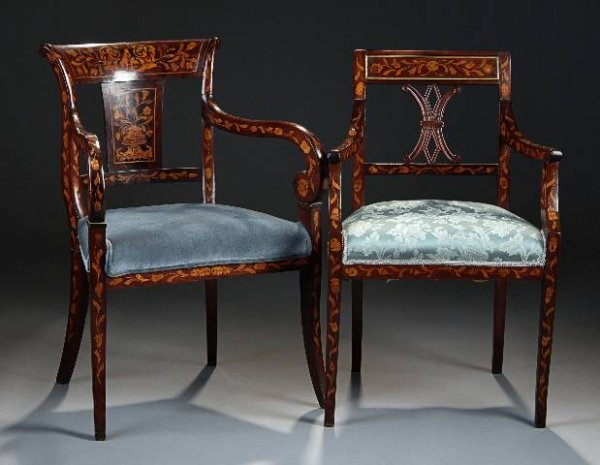 17: TWO DUTCH MAHOGANY MARQUETRY ARMCHAIRS, first half