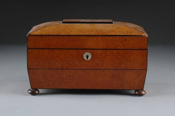 19: A WILLIAM IV BURL WALNUT AND EBONY TEA CADDY of sar