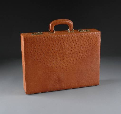 22: AN OSTRICH LEATHER ATTACHÉ CASE, the peanut color c