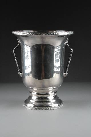24: A CONTINENTAL NEOCLASSICAL STYLE SILVER PLATED VASE