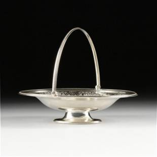 A VICTORIAN SILVER PLATED SWEETS BASKET, STAMPED,