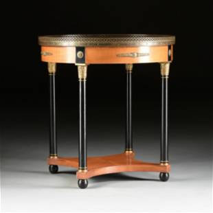 AN EMPIRE STYLE BRONZE MOUNTED LEATHER TOPPED MAPLE AND