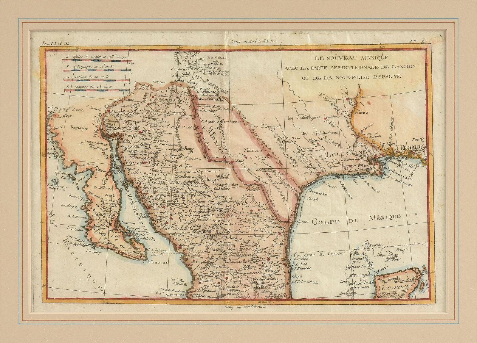 """AN ANTIQUE MAP OF TEXAS, """"Le Nouveau Mexique avec la"""