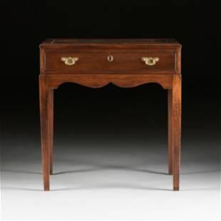 A GEORGE III STYLE GLASS TOPPED MAHOGANY TABLE VITRINE,