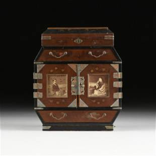 A JAPANESE LATE MEIJI LACQUERED TABLE TOP CABINET