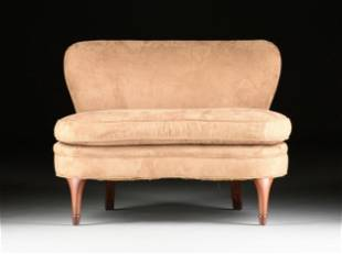 A MID-CENTURY MODERN STYLE FAUX ULTRA SUEDE UPHOLSTERED