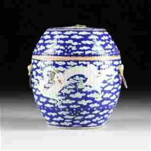 A CHINESE FAMILLE VERTE BLUE GROUND ENAMELED PORCELAIN