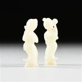 A PAIR OF VINTAGE CHINESE WHITE JADE LADY MUSICIANS,