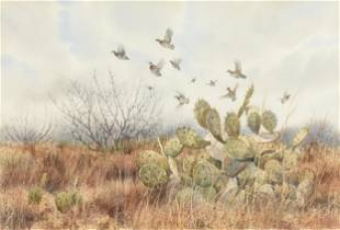 """HERB BOOTH (American 1942-2014) A PAINTING, """"Bobwhite"""