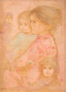 """EDNA HIBEL (American 1917-2014) A PAINTING, """"Mother"""