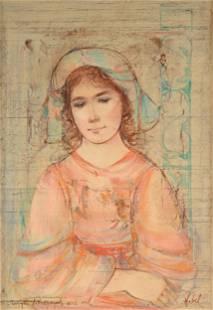 "EDNA HIBEL (American 1917-2014) A PAINTING, ""Portrait"