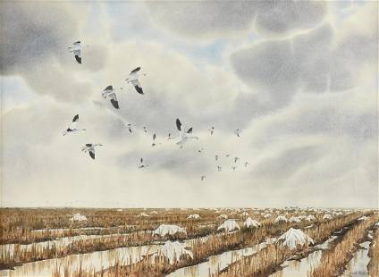 """HERB BOOTH (American 1942-2014) A PAINTING, """"Snow Geese"""