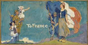 FRANCIS LUIS MORA (American 1874-1940) A WWI PROPAGANDA