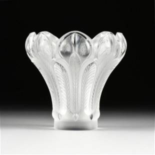 """A LALIQUE FROSTED CRYSTAL """"ENSA"""" VASE, SIGNED, LATE"""