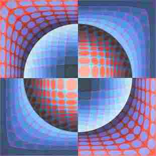 """VICTOR VASARELY (Hungarian 1906-1997) A PRINT, """"Relat,"""""""