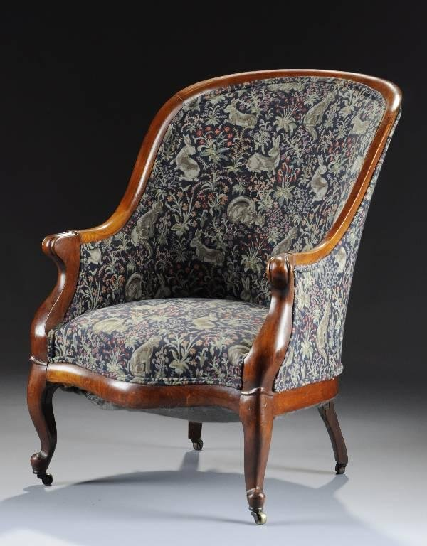 1: A VICTORIAN CARVED WALNUT BERGERE, MID 19TH CENTURY,
