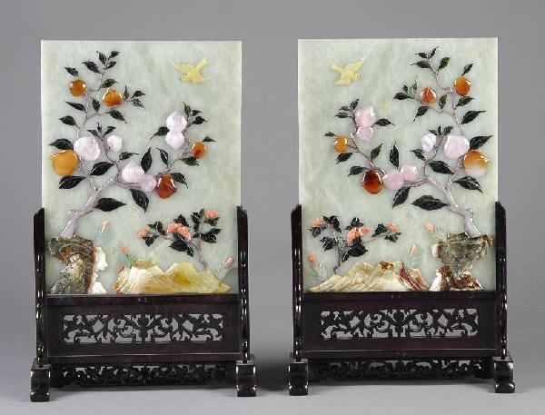 17: A PAIR OF CHINESE CARVED JADE AND HARDSTONE TABLE S