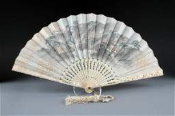 317 A JAPANESE WATERCOLOR PAINTED AND IVORY FAN FIRST