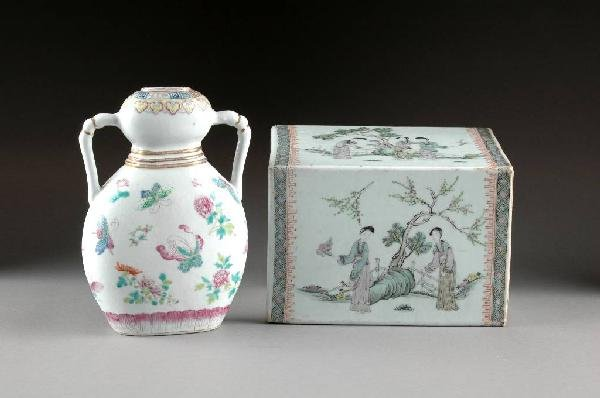 332: TWO CHINESE FAMILLE ROSE PORCELAIN WARES, LATE 19T