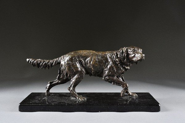 3: A FRENCH PATINATED BRONZE SCULPTURE OF A DOG, 20TH C