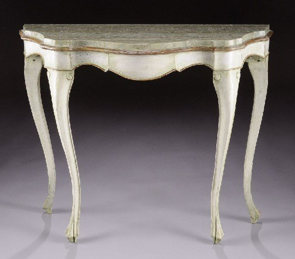 15: AN ITALIAN ROCOCO STYLE GREEN PAINTED CARVED WOOD A
