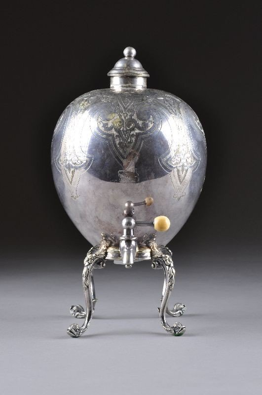 19: AN ENGLISH REGENCY SILVER PLATED HOT WATER URN, the