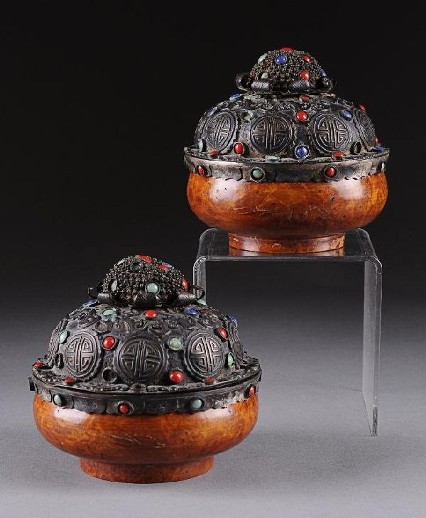 21: A PAIR OF CHINESE CARVED BURL WOOD COVERED BOXES, 2