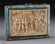 173 A CONTINENTAL IVORY MOUNTED AND TURQUOISE ENAMELED