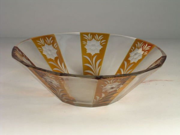 2: An antique cut crystal fruit bowl, the paneled sides
