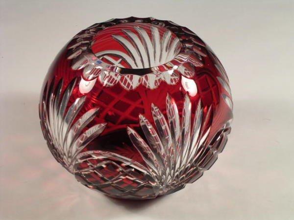 5: A Bohemia cut crystal rose bowl, the sides cut ruby