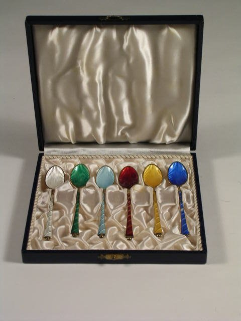 8: A service of six Denmark sterling silver and enamel