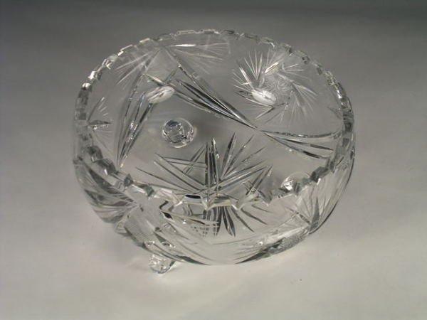 9: An American cut crystal fruit bowl, the sides engrav
