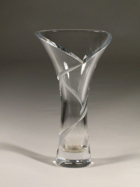 """17: A continental crystal vase, the """"lily"""" formed sides"""
