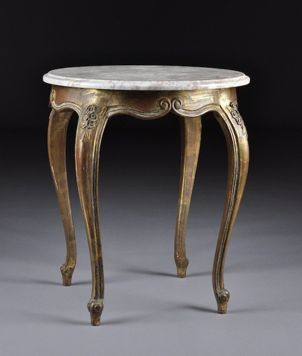 1: A LOUIS XV STYLE CARVED AND GILTWOOD MARBLE TOP OCCA