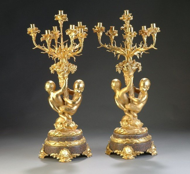 6: A PAIR OF LOUIS XV STYLE GILT BRONZE AND PINK GRANIT