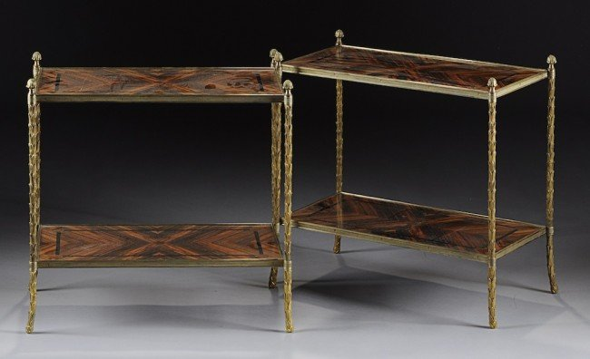 10: A PAIR OF REGENCY STYLE GILT BRASS AND ZEBRA WOOD P