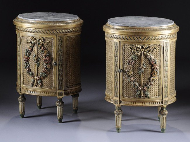 20: A PAIR OF EDWARDIAN PARCEL GILT AND COLORFULLY PAIN