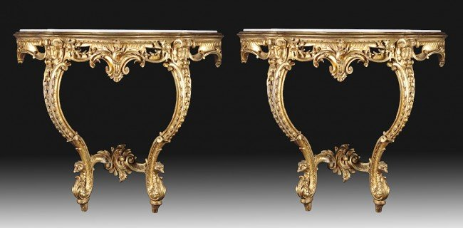 436: A PAIR OF ROCOCO REVIVAL PARCEL GILT AND CARVED WO