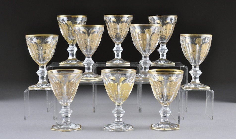 5: A SERVICE OF TEN BACCARAT CUT CRYSTAL WHITE WINE GOB