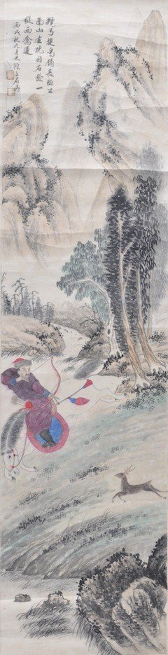 8: CHINESE WATERCOLOR ATTRIBUTED TO SHE TAO, ink and co