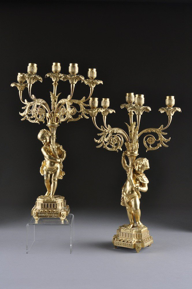 14: A PAIR OF LOUIS XVI STYLE FIVE-LIGHT FIGURAL CANDEL