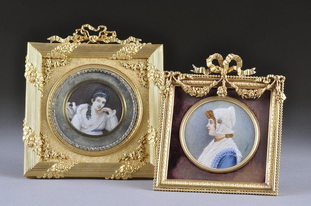20: TWO FRAMED VICTORIAN PAINTED IVORY PORTRAIT MINIATU