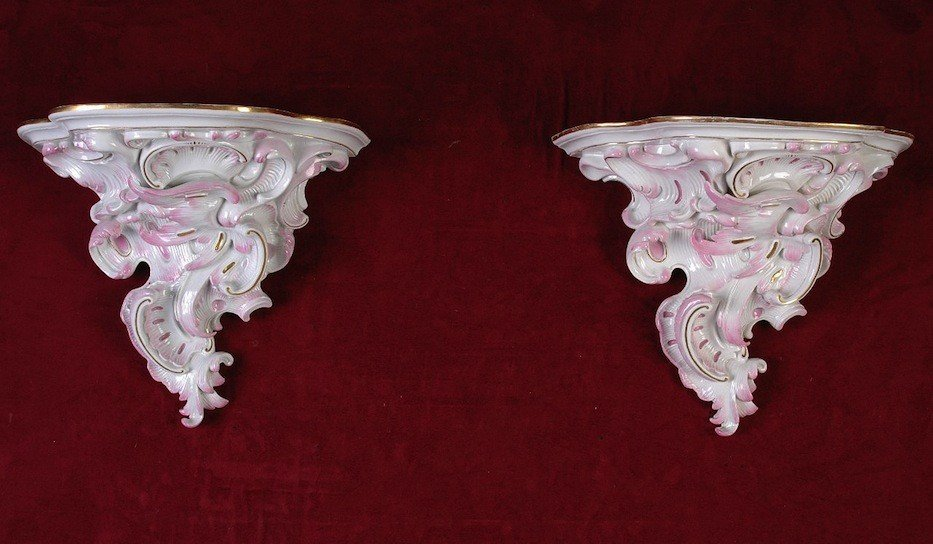 62: A MATCHED PAIR OF MEISSEN PARCEL GILT AND PINK HIGH